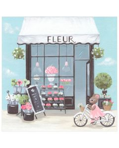 Mouse on Bike Parisian Flower Shop Canvas Wall Art for Kids