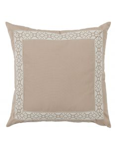 Beige Designer Outdoor Pillow with Embroidered Tape