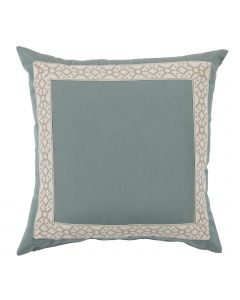 Blue/Green Designer Outdoor Pillow with Embroidered Tape