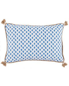 Lacefield Designs Blue and White Sahara Pacific Lumbar Pillow with Tassels