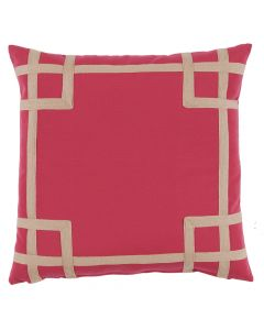 Hot Pink Outdoor Throw Pillow with Sand Beige Tape Detail