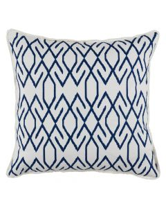 White and Navy Throw Pillow with White Eyelash Trim