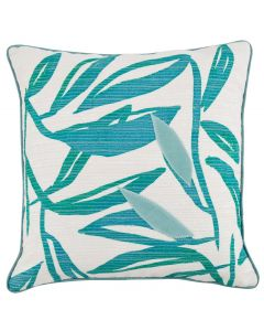 Blue/Green Leafy Abstract Island Style Throw Pillow With Alpine Piping