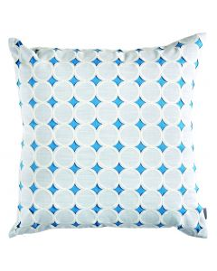 Circle Diamond Blue Linen Square Throw Pillow