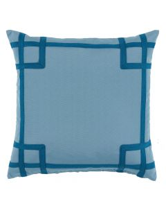 Teal Outdoor Square Throw Pillow with Tape Trim Detail – CALL TO CONFIRM AVAILABILITY