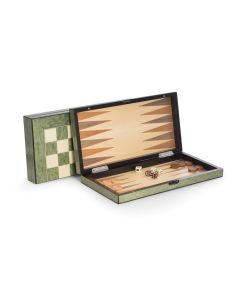 Lacquer Green Inlaid Wood Backgammon & Chess Game Set with Pions, Wood Checkers, Dice, Dice Cups