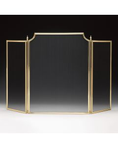 Lacquered Solid Cast Brass Fireplace Screen with Black Mash
