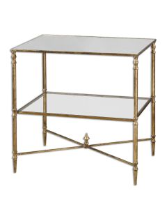 Lamp Table with Gold Leaf Finish on Iron Frame