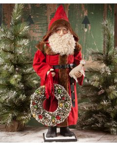 Large Father Christmas Figurine with Wreath