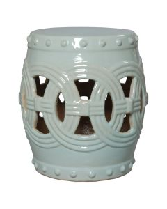 Large Linked Fortune Garden Stool in Celadon - ON BACKORDER UNTIL MID-APRIL