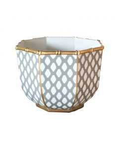 Large Bamboo Bowl in Parsi Grey With Gold Trim