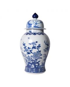 Large Blue and White Porcelain Four Seasons Ginger Jar