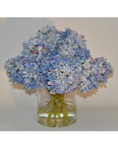 Large Blue Hydrangea Faux Floral in a Glass Vase