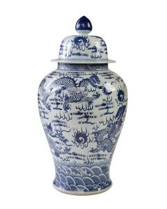 Large Blue & White Temple Jar With Sea Dragon Motif