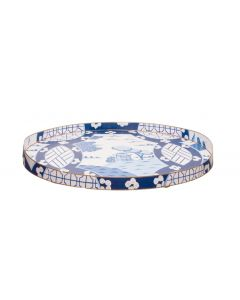 Large Canton in Blue Tole Tray