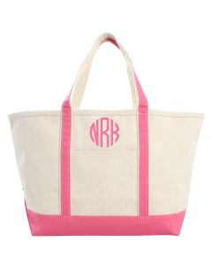 Large Canvas Boat Tote Bag With Optional Monogram in Coral