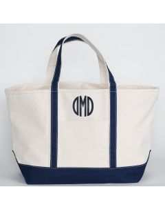 Large Canvas Boat Tote Bag With Optional Monogram in Navy