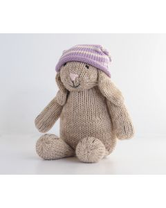 Large Knit Sitting Bunny in Slouch Hat for Kids