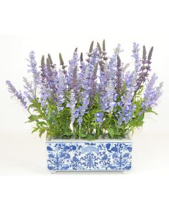 Large Lavender Faux Floral in a Blue and White Porcelain Footbath