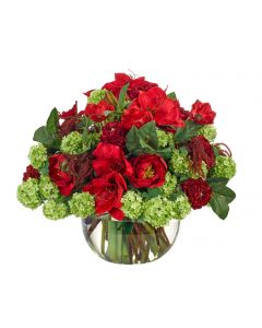 Large Red and Green Rose Hydrangea Holiday Centerpiece Floral Arrangement