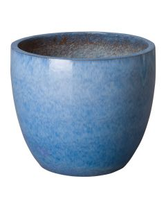 Large Round Garden Planter with Blue Glaze