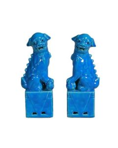 Large Sitting Foo Dog Pair in Turquoise