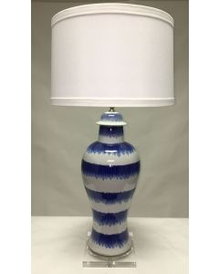 Large Splashed Blue on White Jar Lamp With Acrylic Base