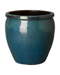 Large Teal Glazed Round Garden Planter