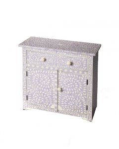 Lavender Console Chest with White Bone Inlay and Floral Pulls