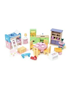Le Toy Van 37 Piece Starter Furniture Set for Dollhouses
