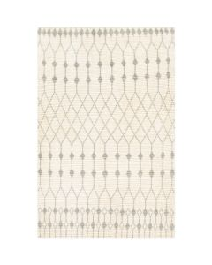 Leah Large Hand Woven Trellis Diamond Rug in Cream and Light Grey