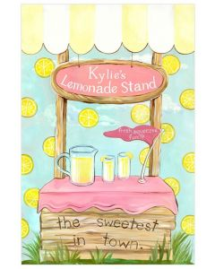 Lemonade Stand Personalized Pink and Yellow Canvas Wall Art for Kids