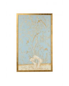 Light Blue Chinoiserie Birds Panel Wall Art With Gold Frame - ON BACKORDER UNTIL OCTOBER 2020