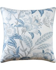 Light Blue Floral Linen Decorative Throw Pillow – Available in Different Sizes