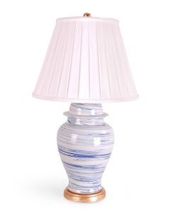 Light Blue & White Porcelain Swirl Jar Table Lamp With Gold Leaf Base