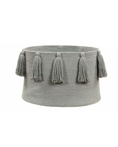 Washable Light Grey Tassel Braided Storage Basket