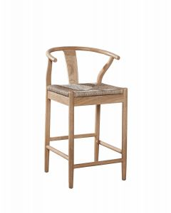 Light Oak Broomstick Counter Stool With Woven Seat - ON BACKORDER UNTIL JUNE 2020