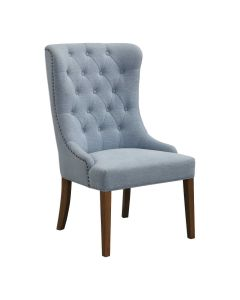 Light Slate Blue Button Tufted Wing Chair with Bronze Nail Head Trim