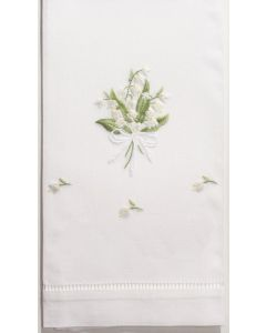 Set of 2 Lily of the Valley White Cotton Hand Towels