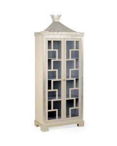 Limed Oak Fretwork Cabinet with Gray Interior - On BACKORDER UNTIL MAY 2021