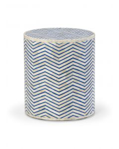 Lincoln Blue and White Bone Inlay Herringbone Pattern Side Table