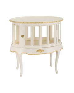 Linen and Gold Petite French Storage Table