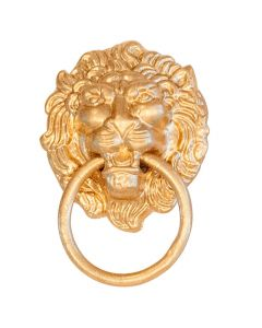 Set of 12 Gold Lion Head with Knocker Animal Napkin Ring Holders
