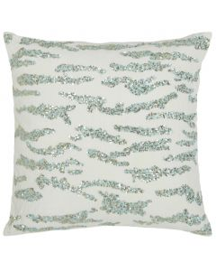 Little Animal Embroidered Decorative Pillow in Aqua and Cream