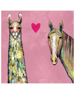 Llama And Horse Pink Canvas Wall Art for Kids