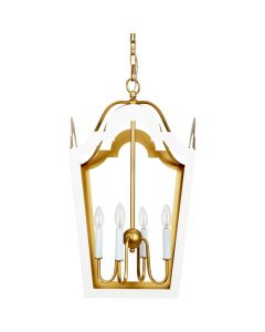 Glossy White 4 Light Tole Lantern with Gold Accents