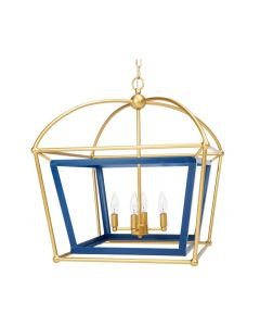 Large Navy Blue and Gold 4-Light Dome Lantern