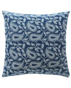 Lycia Block Print Decorative Cotton Pillow in Indigo Blue