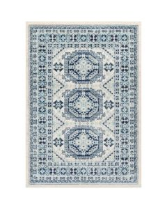 Woven Oriental Rug in Blue and Grey