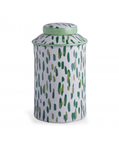 Madcap Cottage Mill Reef Palm Speckled Green Lidded Porcelain Canister Jar - PREORDER